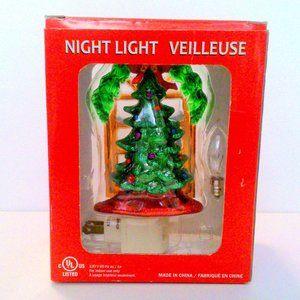 Veilleuse Glittered Christmas Tree Night Light NIB
